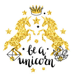 Card with fantasy unicorn and gold glitter texture vector
