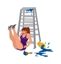 Cartoon woman in purple dress legs up near the vector image