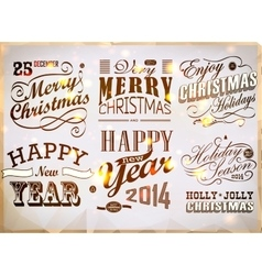 Christmas and Happy New Year typography vector image