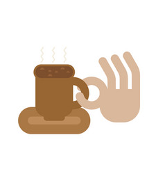 coffee mug and hand okay sign cup of good hot vector image