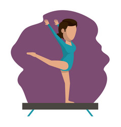 color scene with faceless woman gymnast vector image