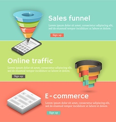 Colorful flat banners set Sales funnel a vector image