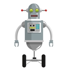 Colorful grey robot with two antennas and two vector