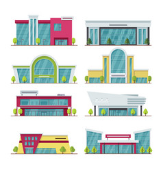Contemporary shopping mall and store buildings vector