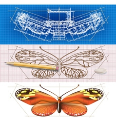 Creative architectural banners with a butterfly vector