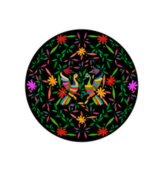Ethnic mexican tapestry with embroidery floral vector