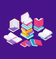 Flat books concept literature school course vector