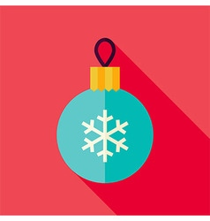 Flat Design Decorative Christmas Ball Icon vector image