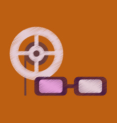 Flat icon in shading style 3d cinema vector