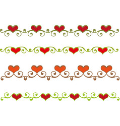 Floral heart border vector