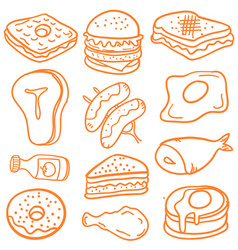 Food various of doodles vector