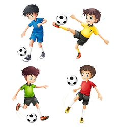 Four soccer players in different uniforms vector
