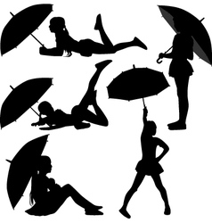 Girl dance with umbrella vector