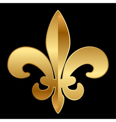 Gold fleur-de-lis ornament on black vector