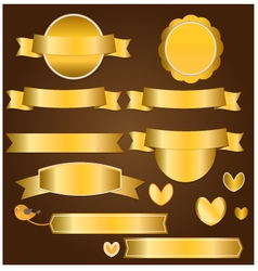 Gold ribbon and banner vector image