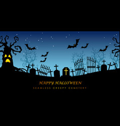 Happy halloween seamless creepy cemetery vector