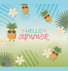 hello summer poster with pineapples characters and vector image