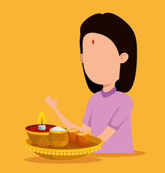 Hindu girl with candle and traditional food vector