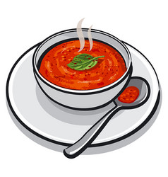 Hot tomato soup vector