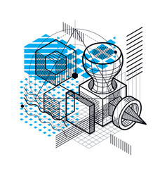isometric abstract background with lines and vector image