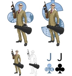 Jack of clubs Hispanic mafioso with Tommy-gun vector image