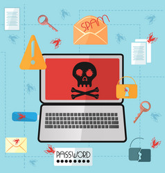 Laptop with a skull on the screen in a flat style vector