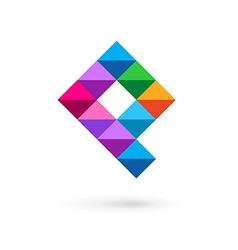 Letter p mosaic logo icon design template elements vector