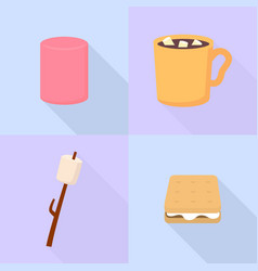 Marshmallow icons set flat style vector
