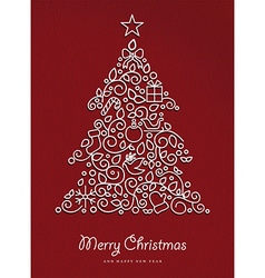 Merry christmas happy new year outline xmas tree vector image