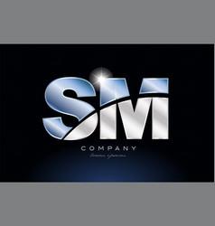 Metal blue alphabet letter sm s m logo company vector