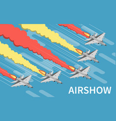 Military airshow isometric top view vector