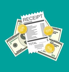 money cash and receipt bill vector image