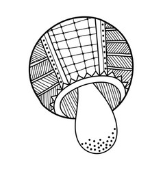 mushroom with patterned black and white vector image