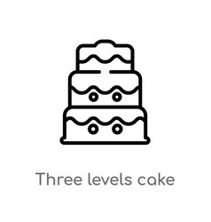 Outline three levels cake icon isolated black vector