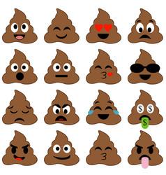 Pile poop emoticons poop emoji smileys vector