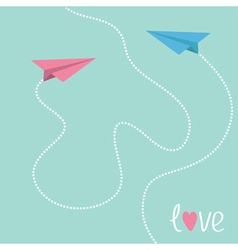 Pink and blue origami paper planes Love card vector