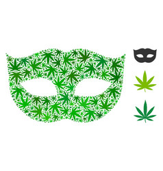 Privacy mask composition of weed leaves vector