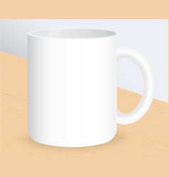 realistic white coffee cup on wooden table vector image