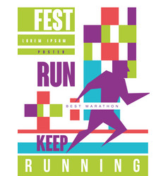Run fest keep running best marathon colorful vector