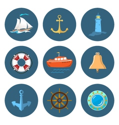Sailboat Lighthouse and Ship Equipment vector