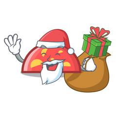 santa with gift semicircle mascot cartoon style vector image