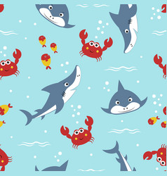 seamless pattern cute shark with crabs and vector image