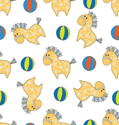 Seamless pattern with horsees vector image