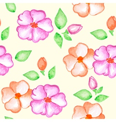 seamless pattern with pink and orange flowers vector image