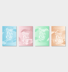 set 4 abstract modern graphic liquid greeting vector image