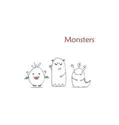 set cute happy white monster hand drawn vector image