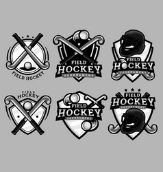 Set field hockey logo vector