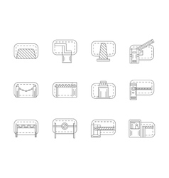 Set of barricades flat line icons vector