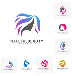 Set of beauty woman face with hair logo design vector