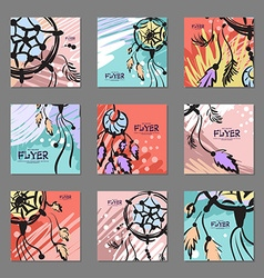 Set of bright abstract cards with dream catcher vector image